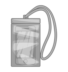 Waterproof phone case icon gray monochrome style vector