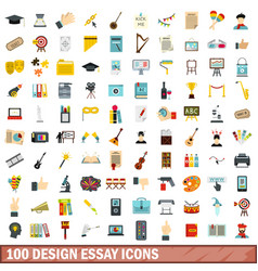 100 design essay icons set flat style vector