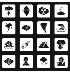 Natural disaster icons set simple style vector