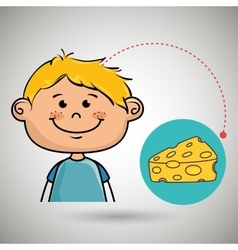 Boy cheese food eat vector