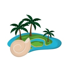 Tropical island and conch icon vector