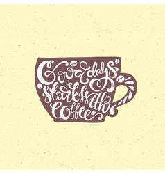 Coffee cup lettering vector