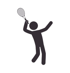 Human silhouette playing tennis vector