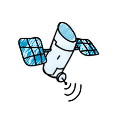 satellite cartoon doodle vector image