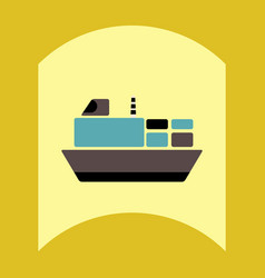 flat icon design collection ship in sea vector image