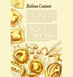 Italian pasta poster for cuisine template vector