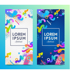 Two abstract festive multicolored banners vector