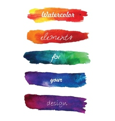 Gradient hand painted brush strokes isolated on vector