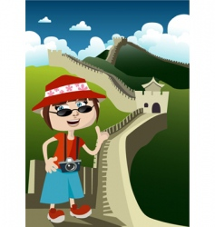 Tourist with great wall vector