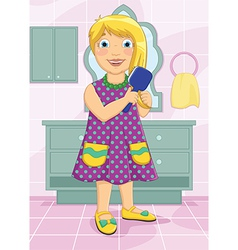 Girl brushing hair vector