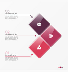 3 option infographic template with squares vector