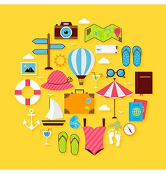 Flat travel summer icon circle shaped set vector