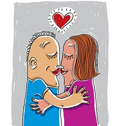 Happy family couple kissing human relationships vector