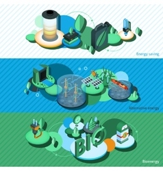 Green energy isometric banners vector
