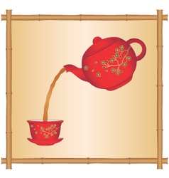 Pouring tea from a chinese teapot vector
