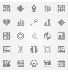 Recording studio icons set vector