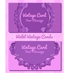 Two violet vintage horizontal business cards vector