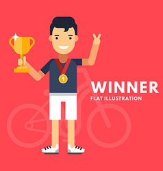 Sport concept male cartoon character cyclist vector