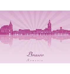 Brasov skyline in purple radiant orchid vector