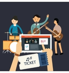 Buy music concert ticket online mobile internet vector