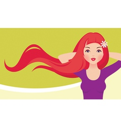 Girl with red hair vector