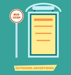 Advertising board on bus stop poster vector