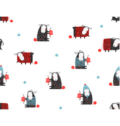 animal sheep funny pattern cartoon background vector image