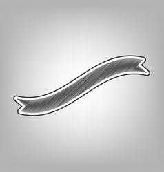 Banner ribbon sign pencil sketch vector