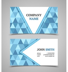 Business card template modern triangle style vector