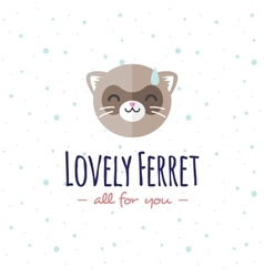 Cartoon ferret head logo flat logotype vector