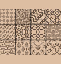 collection of brown seamless patterns vector image