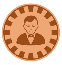 Croupier dealer copper casino chip vector