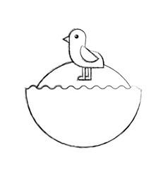 Cute bird sea icon vector