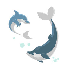 Cute ocaenic whale and sea dolphin isolated vector