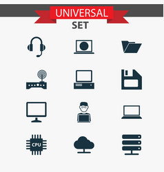 Device icons set collection of dossier laptop vector
