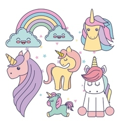 Drawing cute set unicorns icon vector