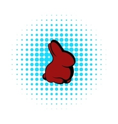Easter bunny icon comics style vector image vector image