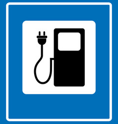 Electric car charging station sign icon against vector