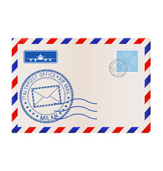 envelope with milan stamp international mail vector image vector image