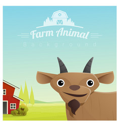 farm animal and rural landscape with goat vector image vector image