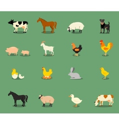Farm animals set in flat style vector image vector image