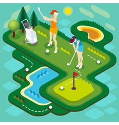 Golf match people isometric vector