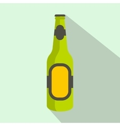 Green bottle of beer icon flat style vector image