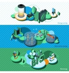 Green Energy Isometric Banners vector image