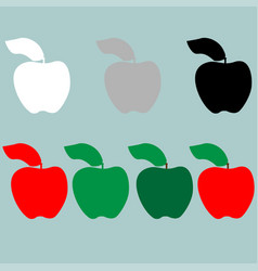 Green red black grey white apple icon vector