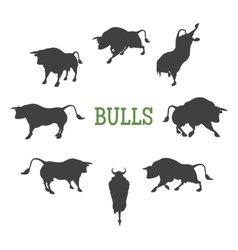 Idle and Moving Bulls vector image vector image