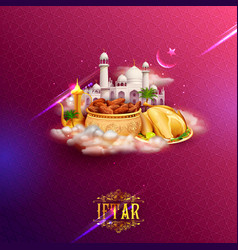 iftar party invitation greeting with mosque for vector image vector image