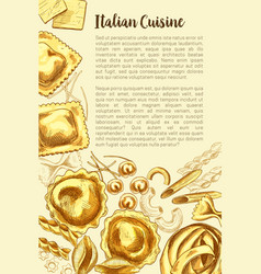 Italian pasta poster for cuisine template vector