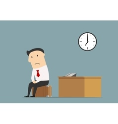 Manager sitting at office after being fired vector