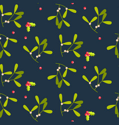 Mistletoe leaves seamless pattern vector